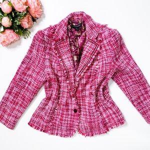 LANE BRYANT Women's Plus size pink tweed blazer